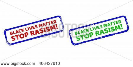 Vector Blm Framed Watermarks With Unclean Surface. Rough Bicolor Rectangle Watermarks. Red, Blue, Gr