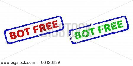 Vector Bot Free Framed Watermarks With Scratched Surface. Rough Bicolor Rectangle Seal Stamps. Red,