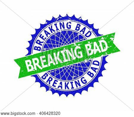 Vector Breaking Bad Bicolor Stamp Seal With Unclean Style. Blue And Green Colors. Flat Seal Stamp Wi