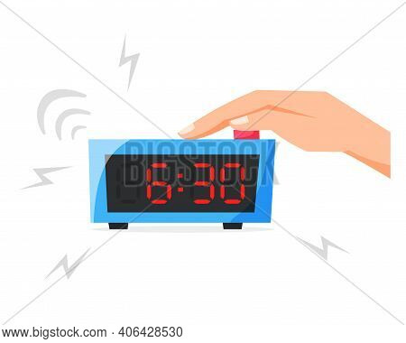 Turn Of Ringing Alarm Clock, Pressing Button On Electronic Clock, Early Morning Concept, Waking Up E