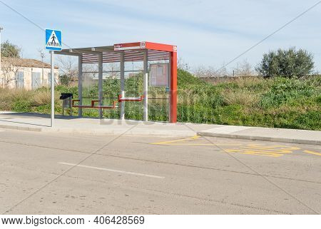Campos, Spain; January 29 2021: New Red Tib Bus Stops In The Majorcan Town Of Campos On A Sunny Day