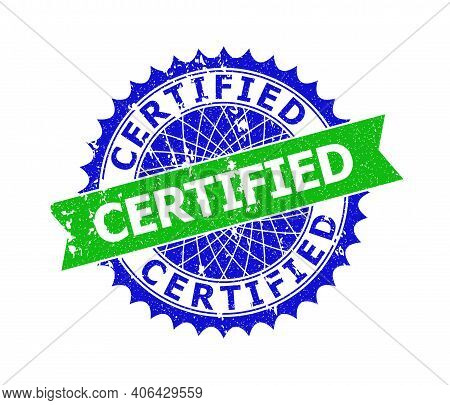 Vector Certified Bicolor Seal With Scratched Style. Blue And Green Colors. Flat Seal Imprint With Ce