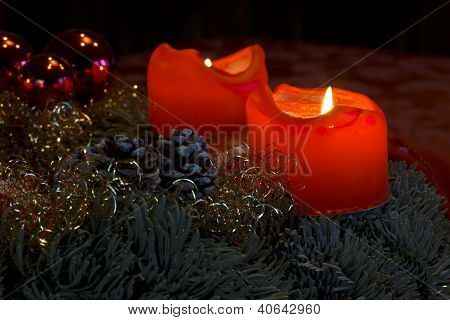 Candles on Advent Wreath