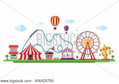 Amusement Park With Circus Carousels Roller Coaster And Attractions. Fun Fair And Carnival Theme Lan