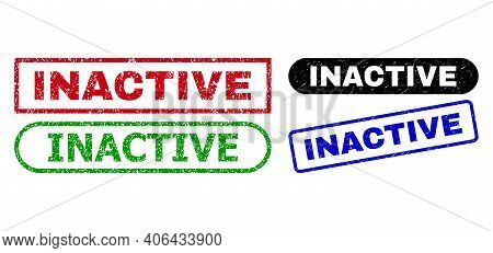 Inactive Grunge Stamps. Flat Vector Grunge Stamps With Inactive Caption Inside Different Rectangle A