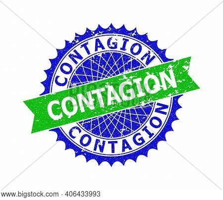 Vector Contagion Bicolor Stamp Seal With Distress Texture. Blue And Green Colors. Flat Stamp With Co