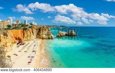 Landscape With Praia Dos Careanos, Famous Beach In Algarve, Portugal