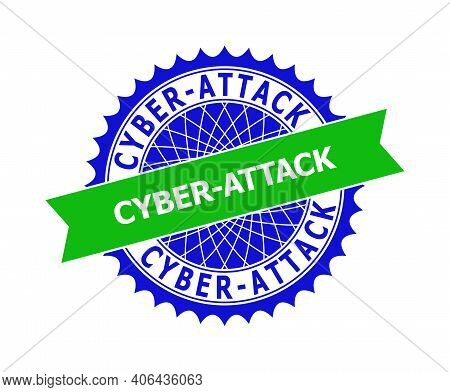 Vector Cyber-attack Bicolor Template For Watermarks With Clean Surface. Flat Clean Seal Template Wit