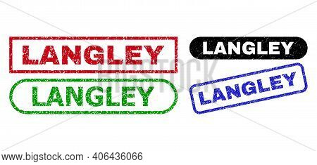 Langley Grunge Watermarks. Flat Vector Distress Watermarks With Langley Title Inside Different Recta
