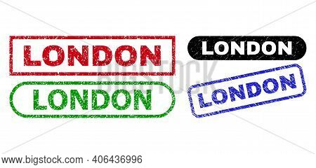 London Grunge Seal Stamps. Flat Vector Textured Seal Stamps With London Title Inside Different Recta