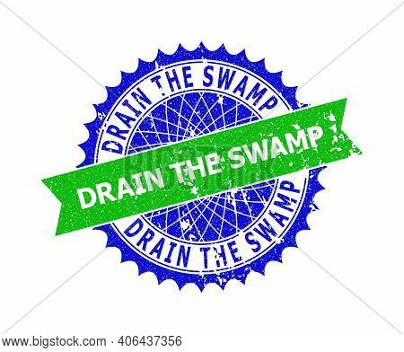 Vector Drain The Swamp Bicolor Seal With Rubber Texture. Blue And Green Colors. Flat Seal Stamp With