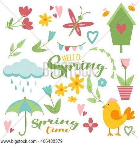 Spring Easter Clip Art Set In Simple Flat Hand Drawn Style. Vector Collection Illustration Isolated