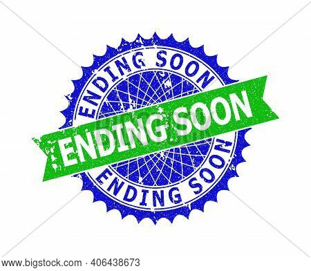 Vector Ending Soon Bicolor Stamp Seal With Rough Texture. Blue And Green Colors. Flat Seal Stamp Wit