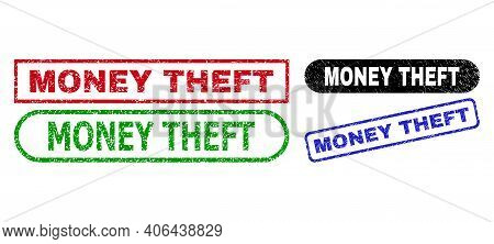 Money Theft Grunge Seals. Flat Vector Grunge Stamps With Money Theft Title Inside Different Rectangl