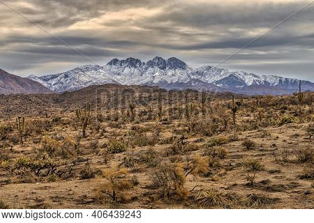 Winter View Of The Bush Fire Burn Scar And Four Peaks Wilderness In The Tonto National Forest Approx