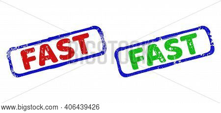 Vector Fast Framed Watermarks With Grunged Style. Rough Bicolor Rectangle Watermarks. Red, Blue, Gre
