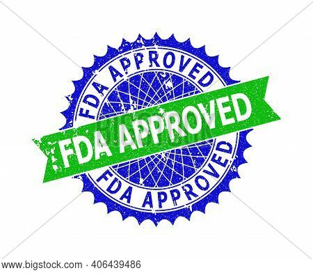 Vector Fda Approved Bicolor Stamp Seal With Rubber Texture. Blue And Green Colors. Flat Seal With Fd