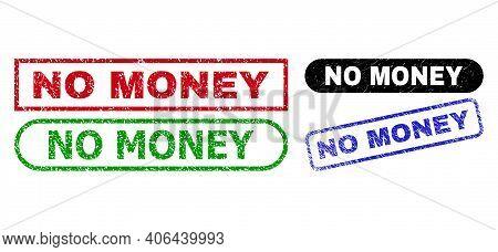 No Money Grunge Seal Stamps. Flat Vector Grunge Seal Stamps With No Money Caption Inside Different R