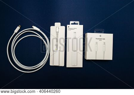 Paris, France - Nov 8, 2018: View From Above Of Thunderbolt Cable, Thunderbolt 3 To 2 Adapter Manufa
