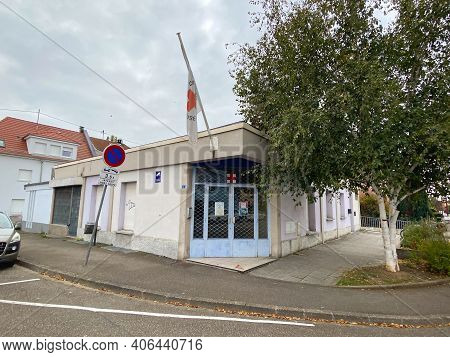 Strasbourg, France - Oct 2020: Large Empty Closed Office Of Croix Rouge Francaise French Red Cross B