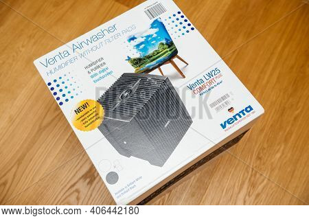 Paris, France - Jan 23, 2021: Overhead View Of New Package Cardboard Box Of The Venta Airwasher Humi