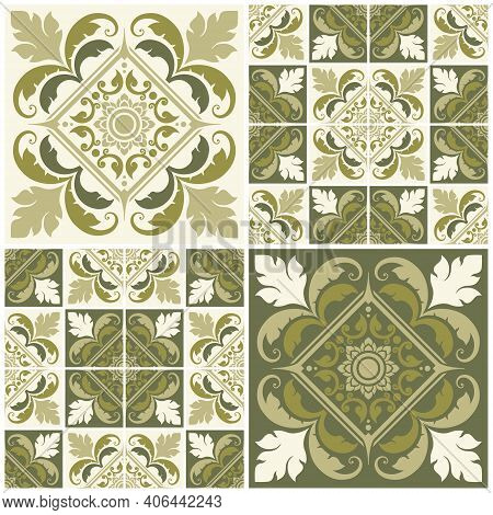 Set Seamless Decorative Patterns Applied Thai Art Style. Abstract Background For Cards, Banner, Broc