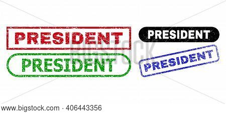 President Grunge Stamps. Flat Vector Grunge Watermarks With President Slogan Inside Different Rectan
