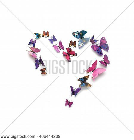 Flock Of Colorful Heart-shaped Butterflies Isolated On White Background, Square Frame, Colorful Floc