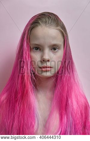 Portrait Of A Girl With Brightly Colored Hair In All Shades Of Purple. Hair Coloring, Beautiful Make