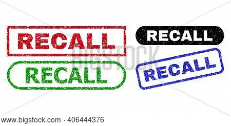 Recall Grunge Seal Stamps. Flat Vector Grunge Seal Stamps With Recall Text Inside Different Rectangl