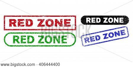 Red Zone Grunge Seal Stamps. Flat Vector Scratched Stamps With Red Zone Tag Inside Different Rectang