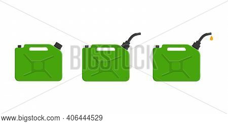 Set Of Gas Cans, Gasoline Canisters With Cap, Spout And Pouring Petrol Drop. Petrol Containers Isola