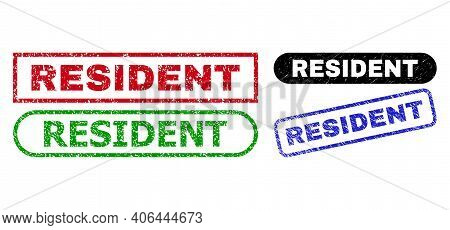 Resident Grunge Seal Stamps. Flat Vector Distress Seal Stamps With Resident Text Inside Different Re