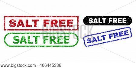 Salt Free Grunge Seals. Flat Vector Grunge Seals With Salt Free Title Inside Different Rectangle And