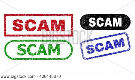 Scam Grunge Watermarks. Flat Vector Grunge Watermarks With Scam Message Inside Different Rectangle A