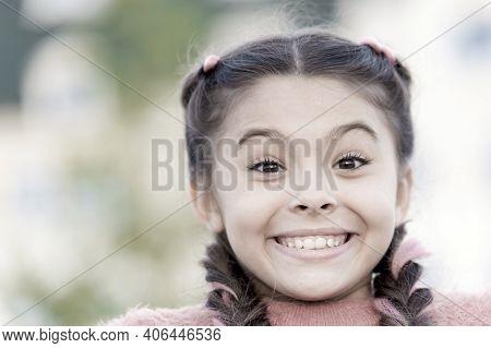 Because Of Your Smile, You Make Life More Beautiful. Adorable Little Girl With Big Smile. Smiling Ki