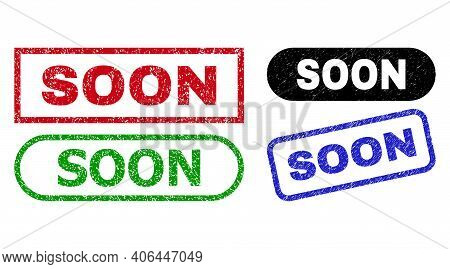 Soon Grunge Watermarks. Flat Vector Distress Watermarks With Soon Tag Inside Different Rectangle And