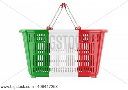 Shopping Basket With Italian Flag, Market Basket Or Purchasing Power Concept. 3d Rendering Isolated