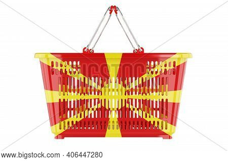 Shopping Basket With Macedonian Flag, Market Basket Or Purchasing Power Concept. 3d Rendering Isolat