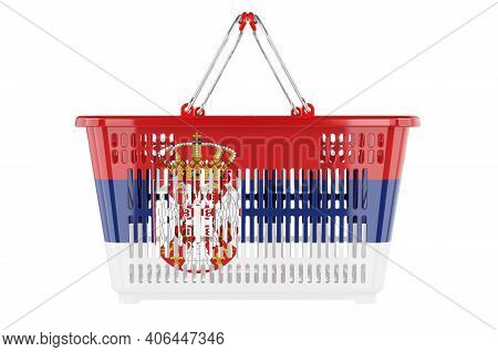 Shopping Basket With Serbian Flag, Market Basket Or Purchasing Power Concept. 3d Rendering Isolated