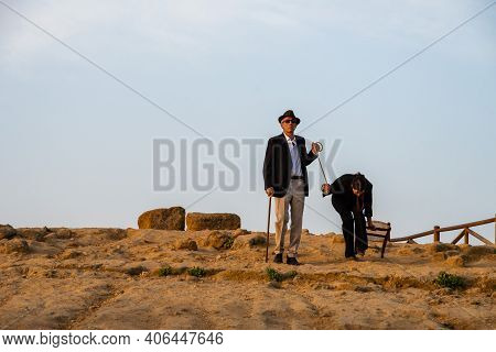 Agrigento, Italy - 14 8 2020: Artists Performance At Dusk At Concordia Temple