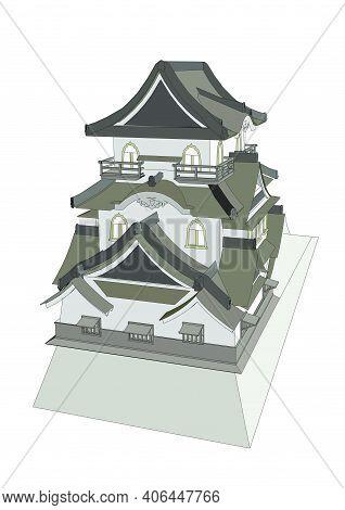Pagoda Vector Illustration Isolated On White Background