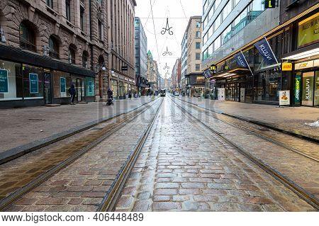Finland, Helsinki. January 26, 2021 Central Street In Old Helsinki. Aleksanterinkatu .concept Histor