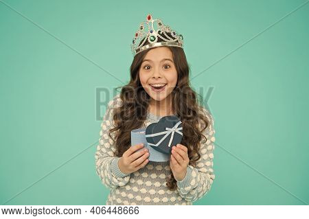 Lovely Present. Gifts Shop. Shopping Day. Birthday Surprise. Cute Smiling Little Girl With Gift Box.