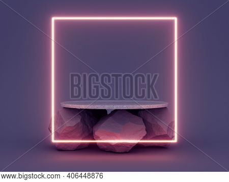 Product stand with table on stones on dark background and neon glowing square, 3D illustration, rendering.