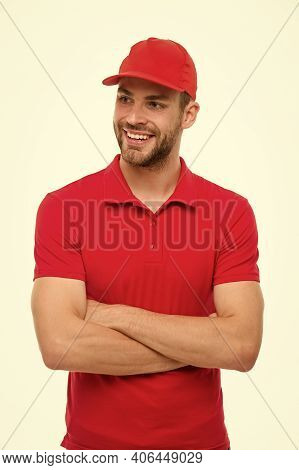Trend For Him. Confident Guy. Happy Guy Keep Arms Crossed Isolated On White. Handsome Guy In Casual