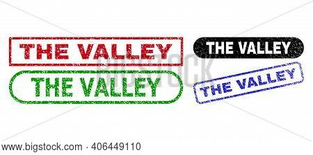 The Valley Grunge Watermarks. Flat Vector Grunge Seal Stamps With The Valley Caption Inside Differen