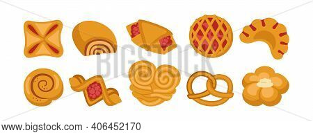 Sweet Buns Cartoon Icon Set Bakery Flat Bun Vector