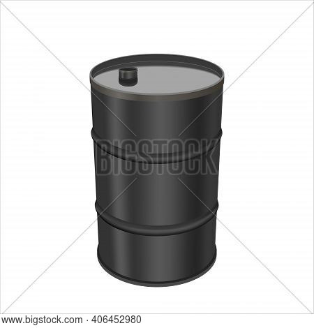 Black Metal Barrel Isolated On White Background. Concept Of The Financial Crisis On The Oil Market.
