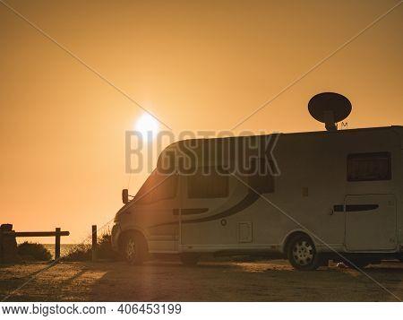 Satellite Dish On Roof Of Caravan